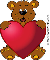 coeur, ours, heureux