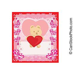 coeur, ours, mignon, teddy