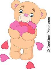coeur, ours peluche, étreindre, dessin animé, tas
