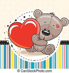 coeur, ours peluche, mignon