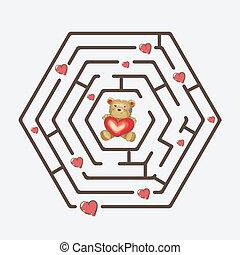 coeur, ours peluche, noir, tenue, labyrinthe, hexagonal