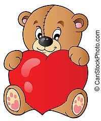 coeur, ours peluche, tenue, mignon