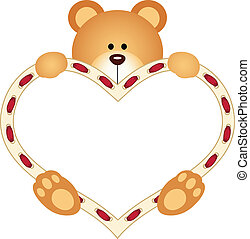 coeur, ours peluche, tenue, vide