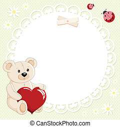 coeur, ours, rouges, teddy