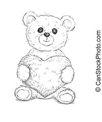 coeur, ours, teddy