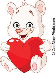 coeur, ours, tenue, teddy