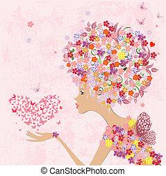 coeur, papillons, mode, fleurs, girl