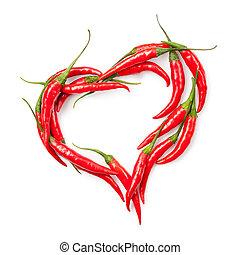 coeur, piment, isolé, poivre, blanc