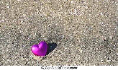 coeur, plage, sablonneux