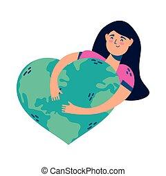 coeur, planète, femme, étreindre, femme, jeune
