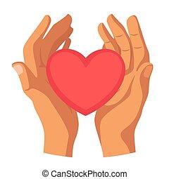 coeur, plat, illustration, vecteur, tenant mains