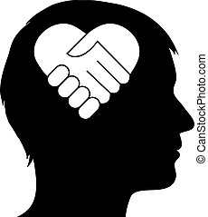 coeur, poignée main, mâle, silhouette