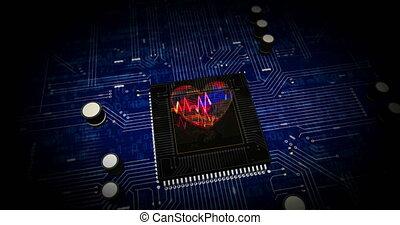 coeur, pouls, cyber, futuriste, animation