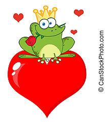 coeur, prince, grenouille, rose