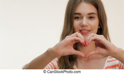 coeur, projection, forme, séduisant, girl, geste
