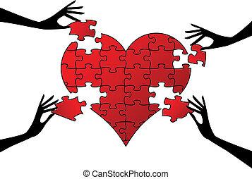 coeur, puzzle, vecteur, mains, rouges
