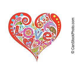 coeur, résumé, amour, coloré