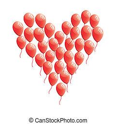 coeur, résumé, balloon, rouges