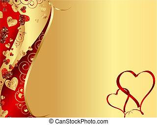 coeur, résumé, ondulé, cadre, rouges