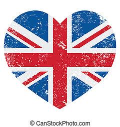 coeur, retro, royaume-uni, grand, drapeau, grande-bretagne