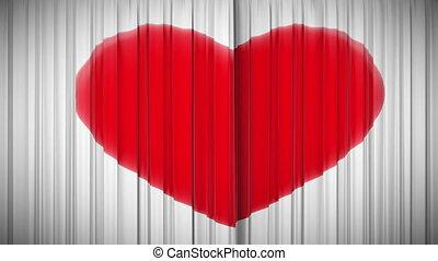 coeur, rideau, ouverture