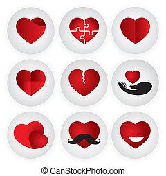 coeur, romance, amour, vecteur, togetherness, passio, indiquer, icône