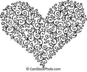 coeur, romantique, vignette, ccxiii