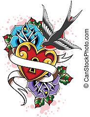 coeur, rose, hirondelle, tatouage