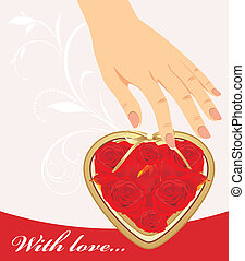 coeur, roses, main femelle