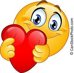 coeur rouge, emoticon, étreindre