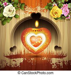 coeur, rouges, bougie