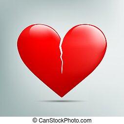 coeur, rouges, fissure