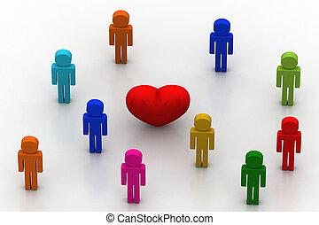 coeur, rouges, gens