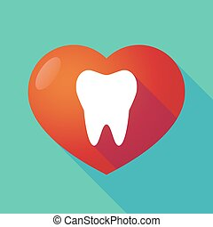 coeur, rouges, long, ombre, dent
