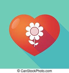 coeur, rouges, long, ombre, fleur