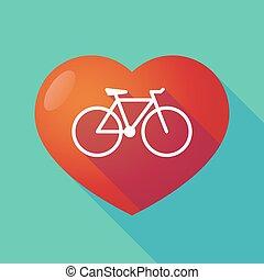 coeur, rouges, long, ombre, vélo
