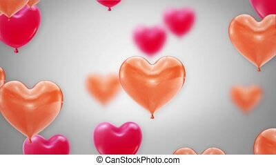 coeur, rouges, voler, alpha, rose, channel., beau, boucle, 4k, animation, ballons