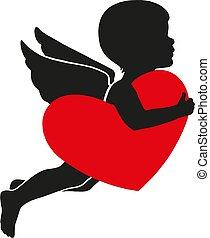 coeur, s, jour, cupidon, valentin