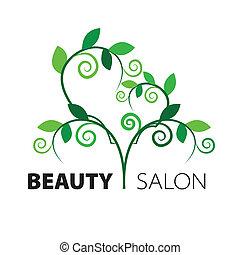 coeur, salon, beauté, feuilles, arbre, vert, logo