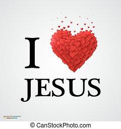 coeur, signe., amour, jésus