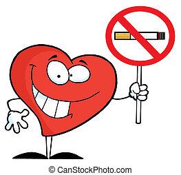 coeur, signe, lever, défense de fumer