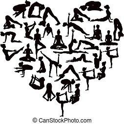 coeur, silhouettes, poses, yoga