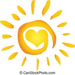 coeur, soleil, chaud, résumé, été