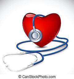 coeur, stéthoscope, autour de