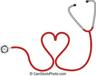 coeur, stéthoscope, forme