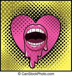 coeur, style, art, égouttement, pop, bouche, femme