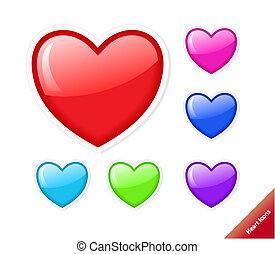 coeur, style, ensemble, eau, différent, icons., vecteur, couleurs, size., n'importe quel