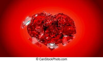 coeur, sur, explosion, loopable, rouges