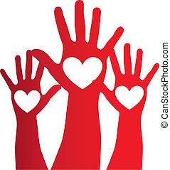 coeur, sur, main