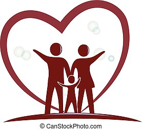 coeur, symbole, amour, famille, logo